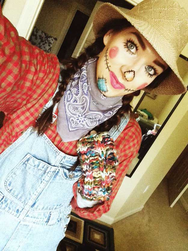 how to make a cute scarecrow costume for halloween check it out at