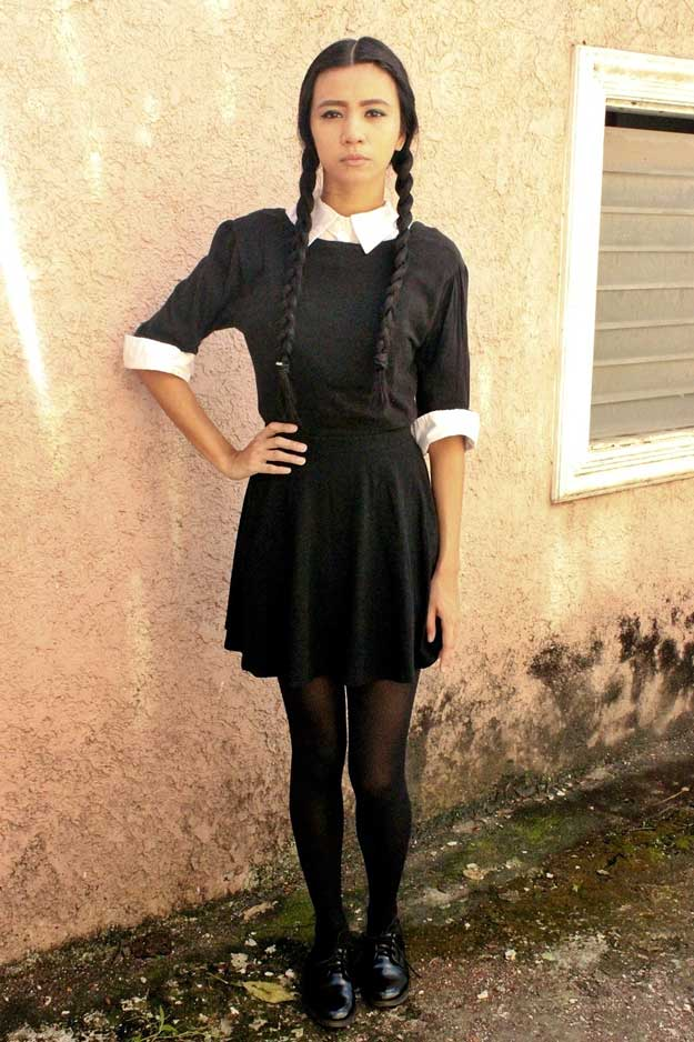 diy wednesday addams tutorial for halloween check it out at httpmakeuptutorials - Cheap Halloween Dresses